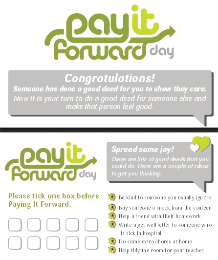 Pay It Forward Day Card - Primary